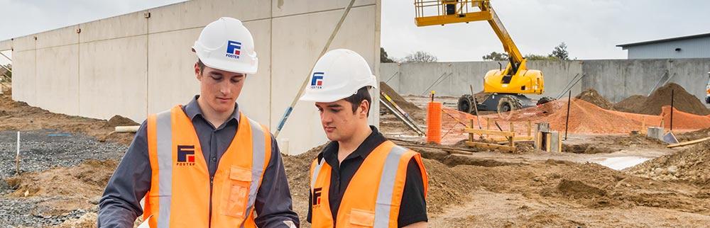 Civil engineering student on job site